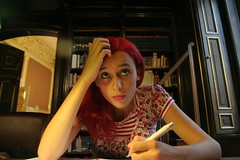 veronika, learning for her english exam (---m---) Tags: people library budapest veronika learning redhair libslibs librariesandlibrarians englishexam szabervinlibrary