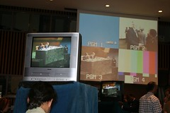 Press room displays at the UN