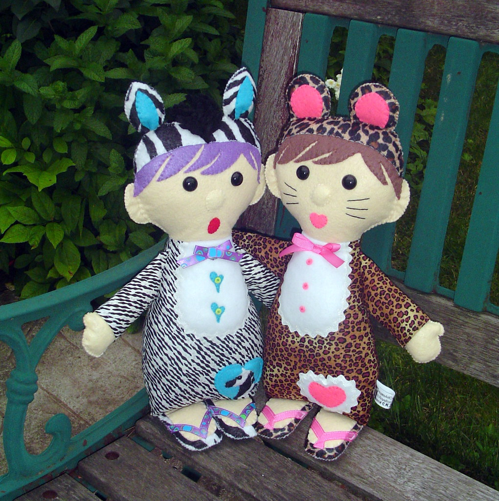 """Costumed Kids"" felt and fabric dolls (cheetah girl and zebra boy)"