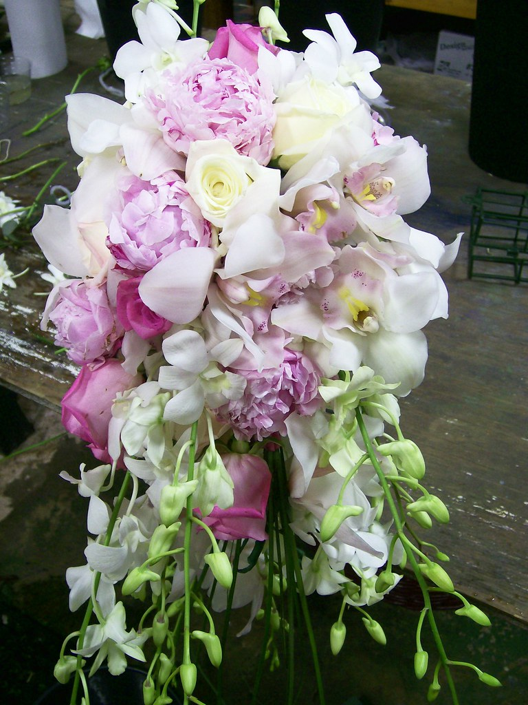 Lush Bridal Bouquet in Pinks, White and Cream