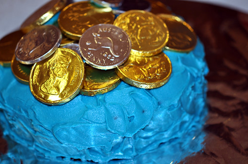 Blue cake with choc coins
