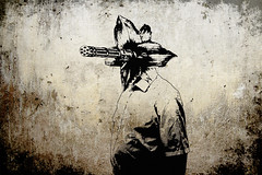 homme fleur by gmdawid (Dawid M. Gajewski - Art) Tags: man flower photomanipulation photoshop stencil weapon