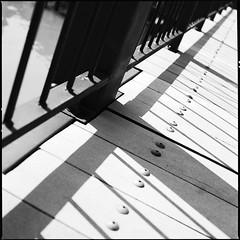 X-Rail (anauhu) Tags: wood bridge venice blackandwhite bw 6x6 film architecture mediumformat screws still rail sw venedig planks