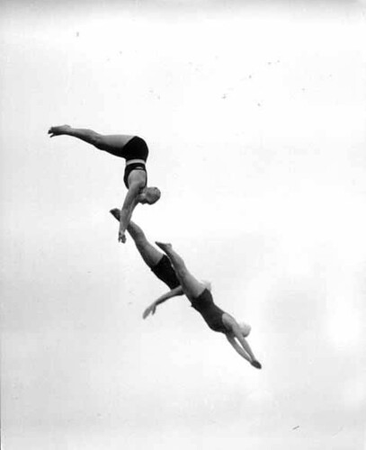 <br /> Three girls in midair each doing a different dive, probably Washington State