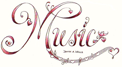 Music Tattoo design with musical notes, hearts and a delicate flower coming