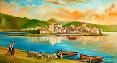 Ma quanto era bello Ortucchio! (Donna ortucchiensis) Tags: lago quadro veduta isola penisola pittura fucino isolotto ortucchio donnaortucchiensis albericotrabucco