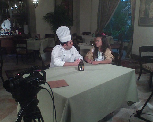 Hostess Fay interviewing Lebanese Chef Ibrahim