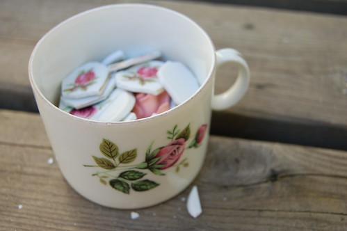 Cup of rosy mosaic