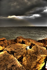 HDR beach.... (Kazi Afzal) Tags: sea beach clouds golden interesting glow stunning favourite hdr darksky nikonian photomatix vr18200mm removedfromnikkorfortags nikond80