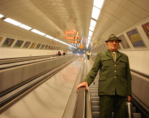 A man in the Budapest metro