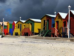 St James Beach Huts (pennyeast) Tags: sky beach nature clouds landscape southafrica town scenery scenic capetown huts cape stjames august2007 jalalspagescoloursoflifealbum papaalphaecho