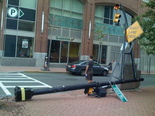 truck hits pole hoboken 2
