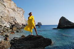 Venus Of The Rocks (Ioannis P. Skaltsas) Tags: blue sea portrait sky woman yellow landscape island rocks venus wind aegean greece volcanic cyclades folegandros fotini pareo preu ioannispskaltsas