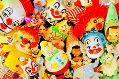 Bozo Bonanza! (boopsie.daisy) Tags: pez color cute colors vintage toys colorful cheery faces bright vibrant clown group kitsch creepy spooky collection several figurines pile bunch multiple clowns heap lots bozo bonanza madeinjapan iloveclowns emmettkelly creepyclowns sadclowns cupcaketoppers happyclowns