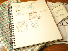 sketches, fabric, pattern