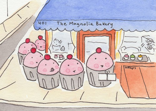 Cuppies waiting in line at the Magnolia Bakery