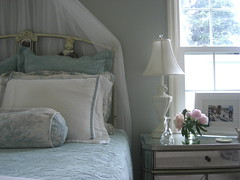 My bedroom (orangesky23) Tags: blue barn silver french table hardware bed bedroom italian iron side powder sage pottery mirrored restoration walls toile matine