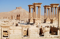 View of Columns and the Qala'at ibn Maan castle, Syria (Alessandra Kocman) Tags: travel castle archaeology colors temple ruins roman columns middleeast syria archaeological palmyra romans baal siria ibn maan qalaat templeofbaal qalaatibnmaancastle