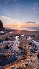 A Rocky Vertorama (Mark Solly (F-StopNinja)) Tags: sunset sea newzealand panorama cloud beach water stone flow sand nikon rocks stream rocky taranaki rockpool newplymouth trickle backbeach d90 sigma1020 nikond90 vertorama