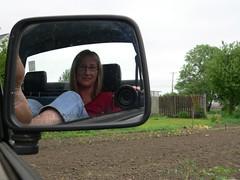 Day 154 My Backyard (S Pipczynski) Tags: selfportrait westernmassachusetts panasoniclumixdmcfz20 meandmycamera hadleymassachusetts connecticutrivervalley project365 truckmirror sandrapipczynski wasdirtieryesterday myfeetweredirty mybackyardandmygarden mirrorwasdirtytoo