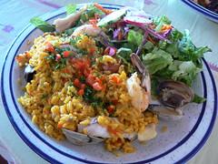 Spanish Paella (JasonAaronAZ) Tags: food dinner lunch salad colorful rice shrimp spanish foodporn seafood presentation clams paella internationalfood bertaslatinamericanrestaurant