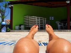 My Legs (xwtiko) Tags: summer vacation sun green feet wet water pool swim hotel chair toe floor legs side leg hellas olympus greece nails corfu kerkyra diakopes kalokairi ilios pisina cavos u725sw
