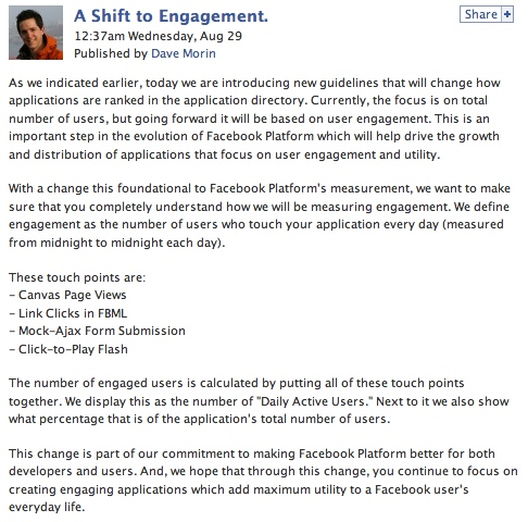 Facebook Metric: Enagement