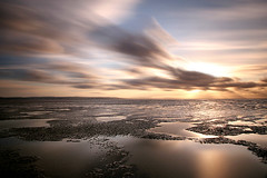 Berrow (Adam Clutterbuck) Tags: ocean uk longexposure greatbritain sunset sea england sky cloud beach water clouds landscape coast sand mud unitedkingdom britain somerset coastal pools shore gb oe rushing greengage berrow shorescapes adamclutterbuck showinrecentset openedition