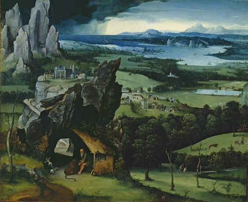 JOACHIM PATINIR (Flemish, 1480-1524) Landscape with Saint Jerome (c. 1516-1517) Oil on board. 74 BY 91 cm. Prado Museum, Madrid.