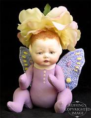 Rosa the Flower Baby, Original One-of-a-kind Folk Art Fairy Doll by Elizabeth Ruffing