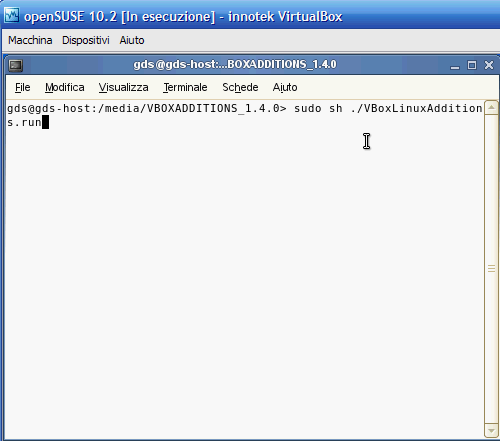 VirtualBox - Guest Additions - SUSE: comando di installazione Guest Additions