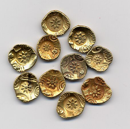 10 ancient Indian gold coins