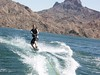 Wakeboarding up to the next cove. …