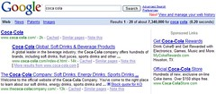 Coca Cola in Google SERPs