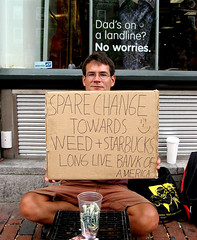 spare change towards weed + starbucks :-)  long live bank of america (sandcastlematt) Tags: cambridge portrait sign weed funny massachusetts harvard starbucks harvardsquare honesty panhandler begger bostonist universalhub