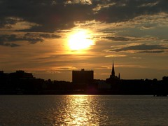 Sunset Over Portland, ME (desbah) Tags: sunset sky reflection water silhouette portland maine supershot mywinners