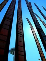 seattle 119 (misterhooligan) Tags: seattle wood blue sky dark sticks bright space bamboo needle tall