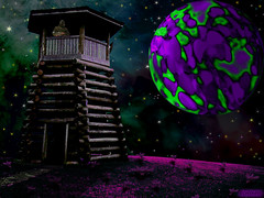 A Long Night In The Watchtower (rcvernors) Tags: sky green night photoshop dark geotagged soldier neon purple oneofakind digitalart guard computerart planet scifi sciencefiction nightwatch allrightsreserved watchtower watchman photoshopart guardtower rcvernors altereduniverse droopmountaintower