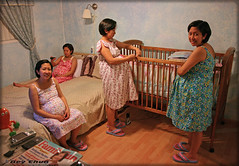 Ging getting ready for the babies (BEY CHUA) Tags: fab beautiful photoshop happy twins bedroom babies excited pregnant multiplicity clones multiples crib motherhood ging mywife arrange bey buntis pinoykodakero