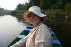 Jeanne in a canoe