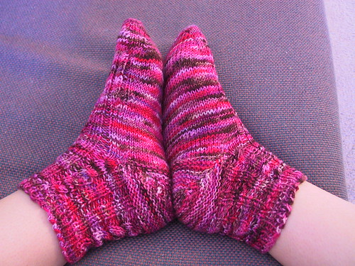 Completed Koigu socks - on feet