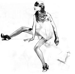 balenciaga a/w 2007 (ersatzsuperjew) Tags: girl fashion illustration pencil ink penink balenciaga artdesign fashionillustration ankleboots fw07