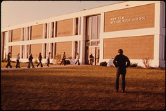 Students Arriving for School at the Senior High School in New Ulm, Minnesota...