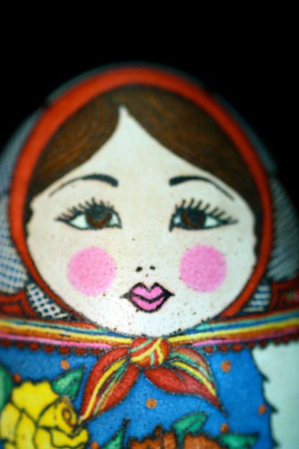 Matryoshka Pysanky with Red Kerchief