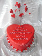 I love you (The Whole Cake and Caboodle ( lisa )) Tags: wedding red newzealand roses cakes cake silver heart anniversary yvonne banana 25th whangarei buttercream caboodle 25thweddinganniversary thewholecakeandcaboodle