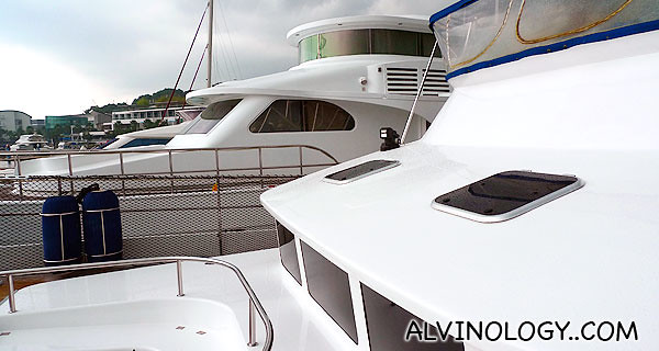 Spanking white yacht