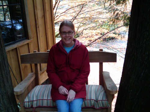 Erica McGillivray at Treehouse Point in a treehouse.