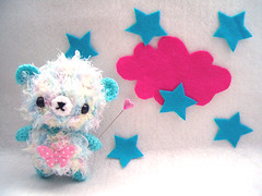 Candy Floss  ( KawaiiCloud ) Tags: blue white cute clouds stars heart teddy fuzzy crochet felt amigurumi peludo ganchillo