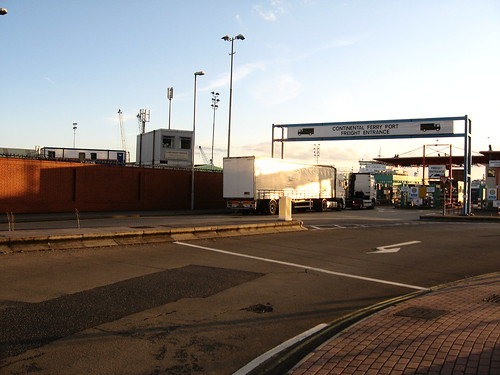 Cargo entrance at Portsmouth ferry terminal, England