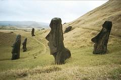 Abandoned Moai, Easter Island (GothPhil) Tags: chile statue 35mm august scanned 1998 agfa moai easterisland asa200 rapanui isladepascua ranoraraku agfachrome